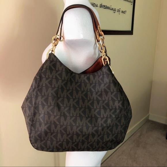 36053d234ce175 Michael Kors Bags | Brown Gold Signature Mk Hobo Bag | Poshmark